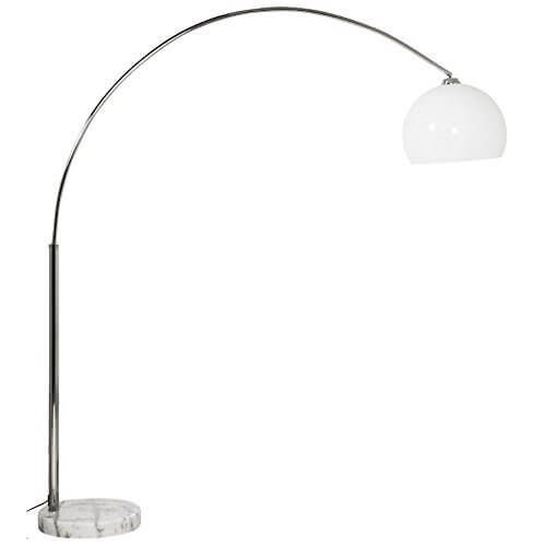 Alterego Lampadaire design en arc BIG BOW XL abat-jour blanc