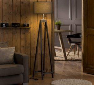 Lampadaire chevalet en bois avec abat jour ovale