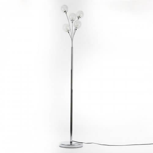 Lampadaire design métal 5 boules en verre (H.160cm)