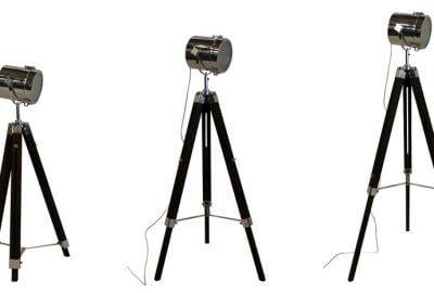 Lampadaire cinéma trépied métal et bois noir