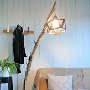 Lampadaire Origami noir et bois flotté