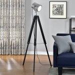 lampadaire tripode (1 x socle E27)(64cm - 140cm) design industriel trépied tripode tripode télescope chrome lampe sur pied luminaire